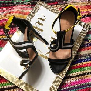 Black, White & Yellow Heels by L.A.M.B.